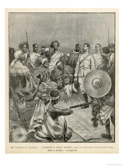 The Meeting of Menelik One of Ethiopia's Greatest Emperors with Major Salsa of the Italian Envoy- Belloc-Giclee Print