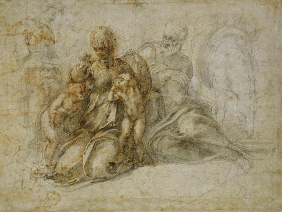 The Meeting of the Infant Saint John the Baptist with the Holy Family Attended by Angels: the…-Michelangelo Buonarroti-Giclee Print