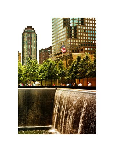 The Memorial Pool View at 9/11 Memorial, 1WTC, Manhattan, New York, White Frame, Sunset Colors-Philippe Hugonnard-Photographic Print