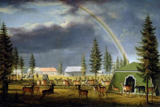 The Menagerie in the Gatchina Palace Park, 1792-Johann Jakob Mettenleiter-Giclee Print