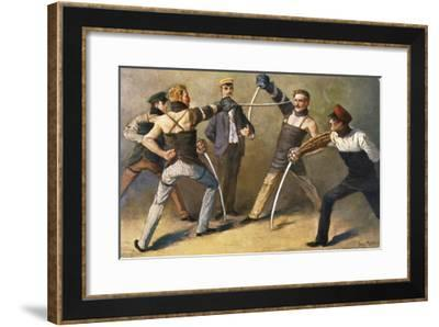 """The """"Mensur"""" (Fencing Bout), Both Duellists Hope They Will be Scarred for Life-Georg Muhlberg-Framed Giclee Print"""