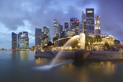The Merlion Statue with the City Skyline in the Background-Gavin Hellier-Photographic Print