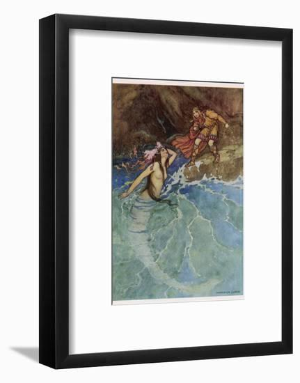 The Mermaid Falls in Love with the King-Warwick Goble-Framed Giclee Print
