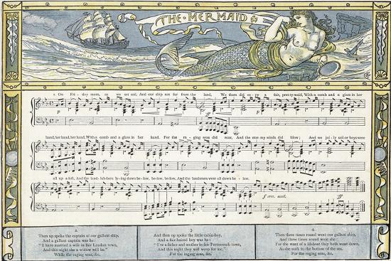 The Mermaid', Song Illustration from 'Pan-Pipes', a Book of Old Songs, Newly Arranged and with…-Walter Crane-Giclee Print