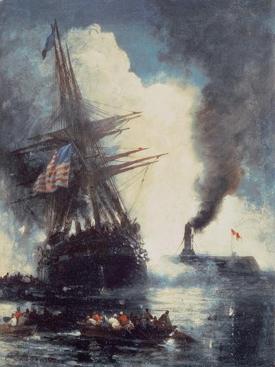 The Merrimac Sinks the Cumberland-Edward Moran-Giclee Print