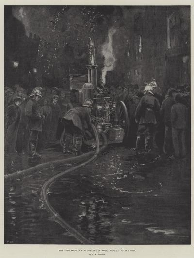 The Metropolitan Fire Brigade at Work, Connecting the Hose--Giclee Print