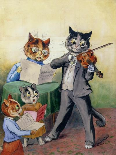 The Mewsical Family-Louis Wain-Giclee Print