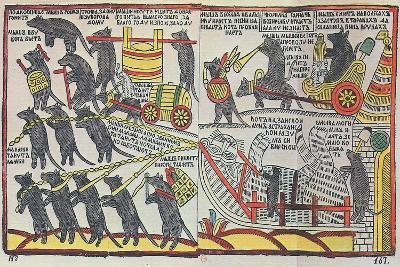 The Mice are Burying the Cat, Lubok Print, 1760--Giclee Print