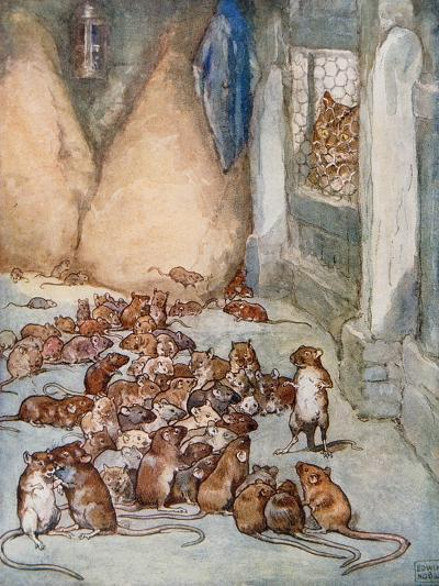 The Mice in the Council from 'Aesop's Fables'-John Edwin Noble-Giclee Print