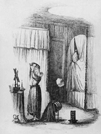 The Middle-Aged Lady in the Double-Bedded Room, Illustration from 'The Pickwick Papers'-Hablot Knight Browne-Giclee Print