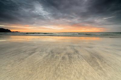 The Midnight Sun Reflected on the Sandy Beach of Skagsanden, Ramberg, Nordland County-Roberto Moiola-Photographic Print