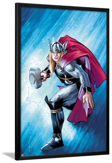 The Mighty Thor No.12.1 Cover: Thor with Mjonir-Olivier Coipel-Lamina Framed Poster