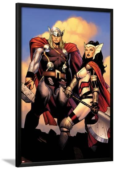 The Mighty Thor No.2: Sif and Thor-Olivier Coipel-Lamina Framed Poster