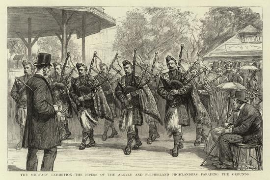 The Military Exhibition, the Pipers of the Argyle and Sutherland Highlanders Parading the Grounds--Giclee Print