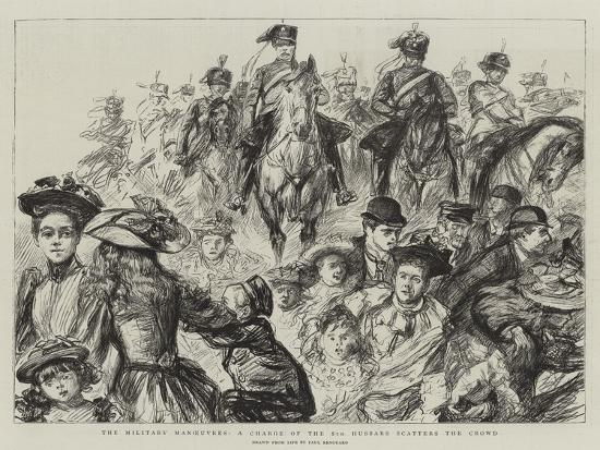 The Military Manoeuvres, a Charge of the 8th Hussars Scatters the Crowd-Charles Paul Renouard-Giclee Print