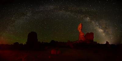 The Milky Way Above Balanced Rock in Arches National Park-Raul Touzon-Photographic Print