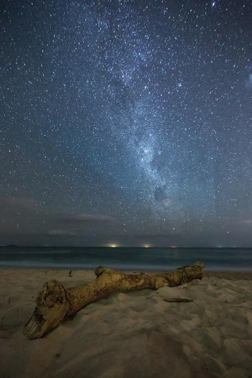The Milky Way Above Itamambuca Beach at Night and Ship Lights on the Horizon-Alex Saberi-Photographic Print