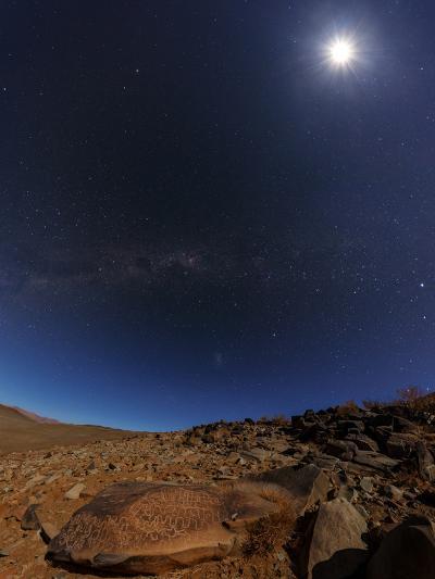 The Milky Way and the Moon Shine Above Desert Mountains-Babak Tafreshi-Photographic Print