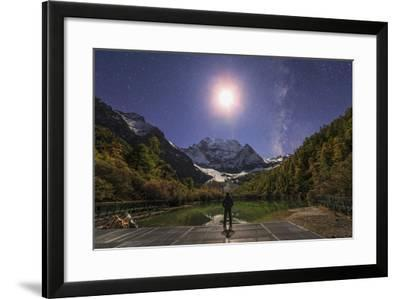 The Milky Way and Waxing Cresent Moon over Mount Chenrezig in China-Stocktrek Images-Framed Photographic Print