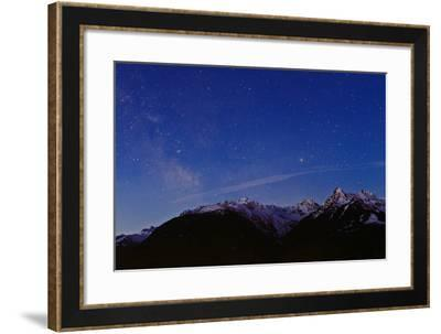 The Milky Way at Dawn over the Austrian Alps, Seen from the Montafon Valley-Babak Tafreshi-Framed Photographic Print
