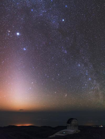The Milky Way, Cassiopeia, Perseus, the Andromeda Galaxy, and Zodiacal Light over an Observatory-Babak Tafreshi-Photographic Print