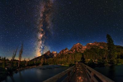 The Milky Way Shines over the Teton Range-Babak Tafreshi-Photographic Print