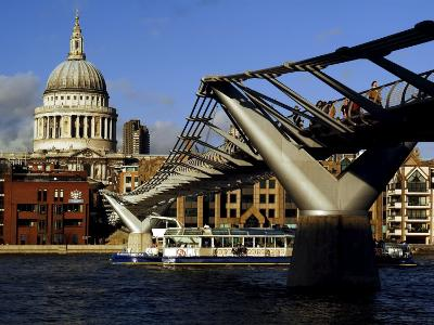 The Millennium Bridge Across the River Thames, with St. Paul's Cathedral Beyond, London, England-David Hughes-Photographic Print