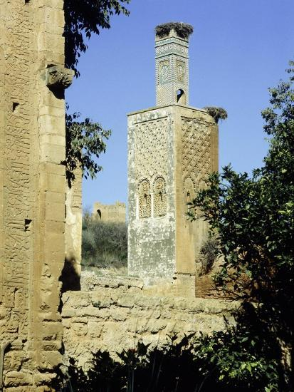 The minaret of one of the two mosques which lie inside the Chellah Necropolis-Werner Forman-Giclee Print