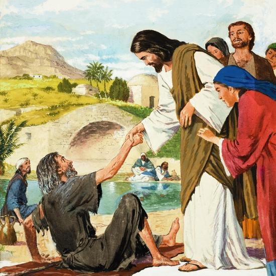 The Miracles of Jesus: Making the Lame Man Walk-Clive Uptton-Giclee Print