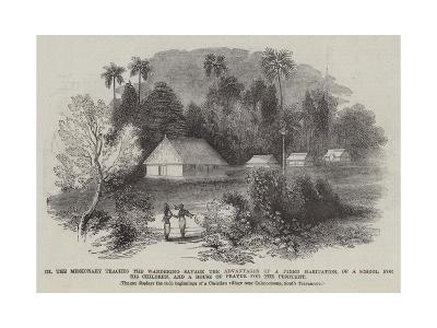 The Missionary Teaches the Wandering Savage the Advantages of a Fixed Habitation--Giclee Print