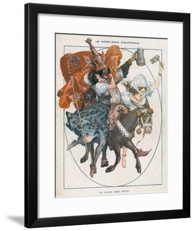 The Mock Pope - 'Le Pape Des Fous' - Part of the Mardi Gras Celebrations--Framed Giclee Print