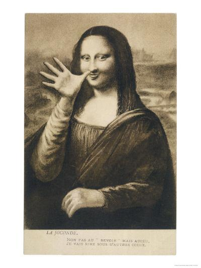 The Mona Lisa Says Goodbye When the Painting is Stolen from the Louvre Paris--Giclee Print