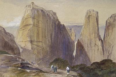 The Monastery of Meteora (Watercolour and Bodycolour on Grey-Blue Laid Paper)-Edward Lear-Giclee Print
