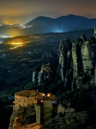 The Monastery of Rousanou Built into Sandstone Pillars of Meteora-Babak Tafreshi-Photographic Print