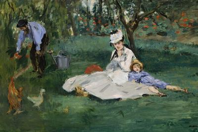 The Monet Family in Their Garden at Argenteuil, 1874-Edouard Manet-Giclee Print