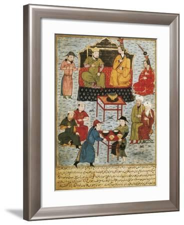 The Mongol Soverign Ghazan Seated on His Throne with His Wife--Framed Giclee Print