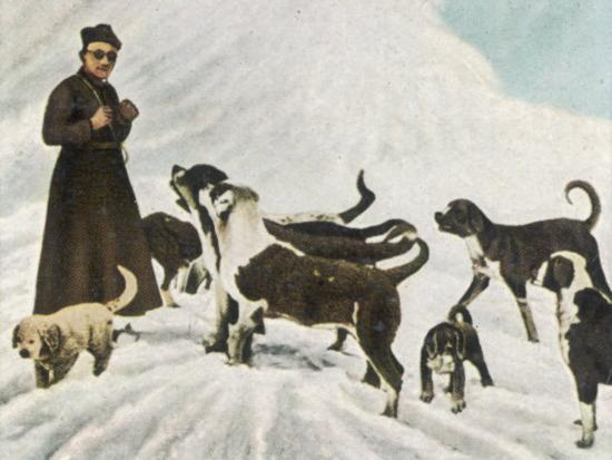 The Monks of Saint Bernard Together with Their Dogs Visit Tibet--Photographic Print