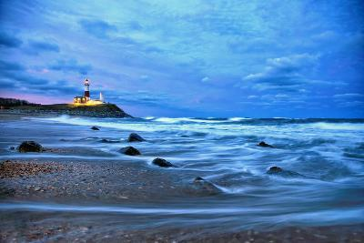 The Montauk Point Lighthouse Shining at Dusk-Robbie George-Photographic Print