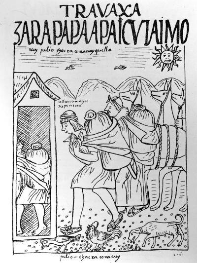 The Month of July, Storing Maize and Potatoes (Woodcut)-Felipe Huaman Poma De Ayala-Giclee Print