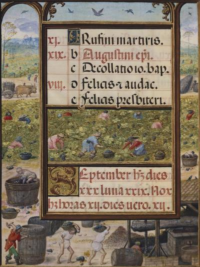 The Month of September, Miniature from the Book of Hours, Portugal 14th Century--Giclee Print
