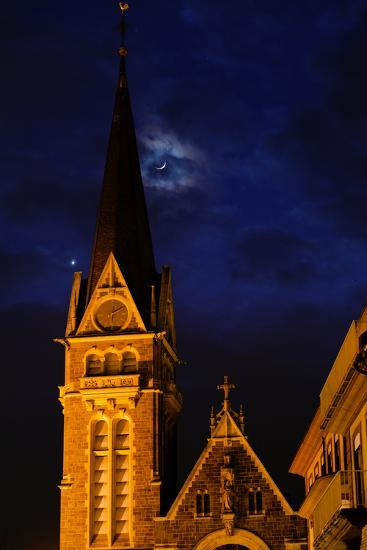 The Moon and Venus Pairing in a Conjunction over a Church at Night-Babak Tafreshi-Photographic Print