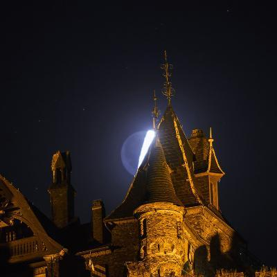 The Moon, Illuminated Sunlight Reflected on Earth's Surface, Behind the Imperial Castle of Cochem-Babak Tafreshi-Photographic Print