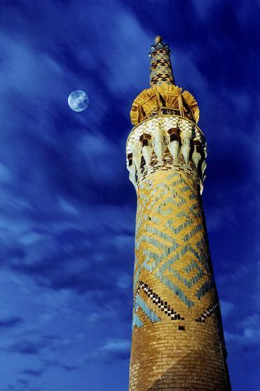 The Moon in the Evening Sky Above the Historic Minaret of Tekeye Mirchaqmaq, in Yazd, Iran-Babak Tafreshi-Photographic Print