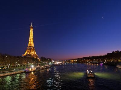 The Moon Meets with Planets Venus and Jupiter over the Eiffel Tower and the Seine River-Babak Tafreshi-Photographic Print