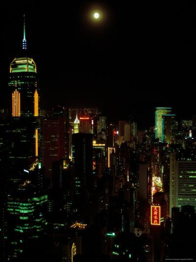 The Moon over the City Lights of Hong Kong-Todd Gipstein-Photographic Print