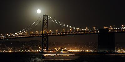 The Moon Rise over the Bay Bridge in San Francisco, California, USA-Matt Campbell-Photographic Print