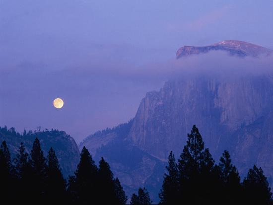 The Moon Rises over Half Dome in Yosemite National Park-Marc Moritsch-Photographic Print