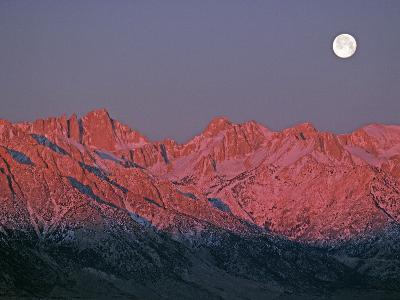 The Moon Sets at Sunrise over the Sierra Nevada and Mount Whitney-Gordon Wiltsie-Photographic Print