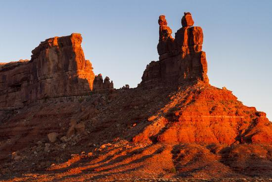The Morning Sun Hits The Eastern Side Of Buttes In Valley Of The Gods, Utah-Mike Cavaroc-Photographic Print