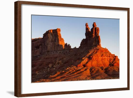The Morning Sun Hits The Eastern Side Of Buttes In Valley Of The Gods, Utah-Mike Cavaroc-Framed Photographic Print